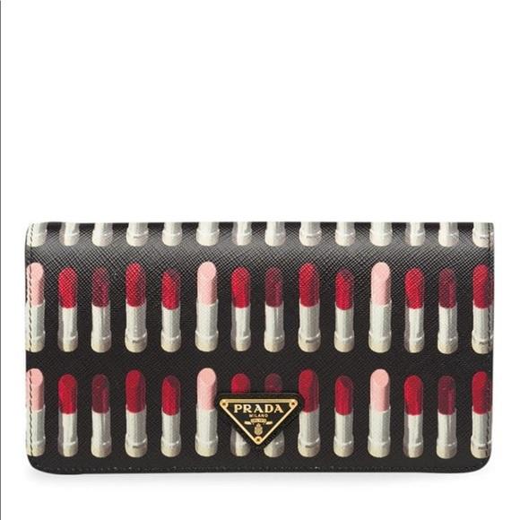 fab73a2f01d2 Prada Bags | Nib Lipstick Print Saffiano Clutch Crossbody | Poshmark